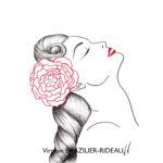 Pin-up à Fleur Rouge-Format A4